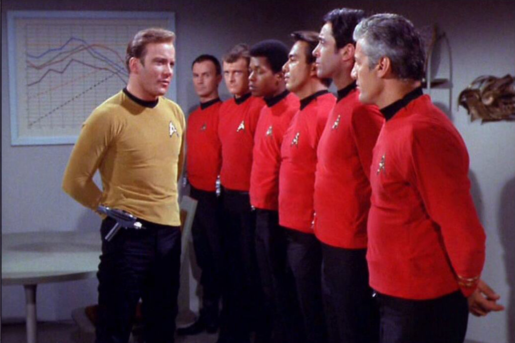 Captain Kirk adresses the redshirts